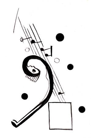 On Kandinskys motives Girl listenning music, abstact Imagens