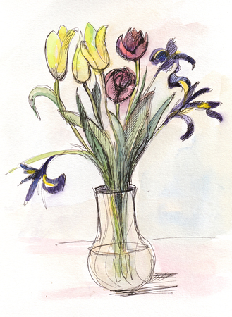 Bouquet of flowers, tulips in glass vase