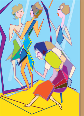 Abstract picture with two woman Ilustração