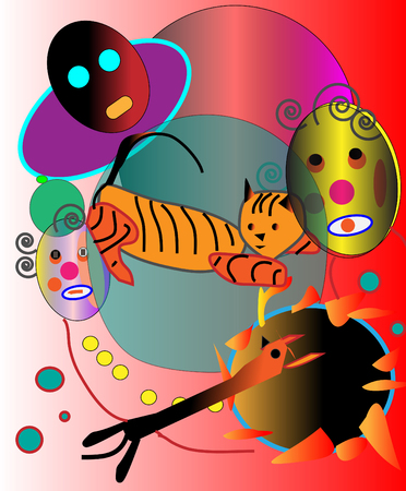Abstract picture with two artists and tiger.