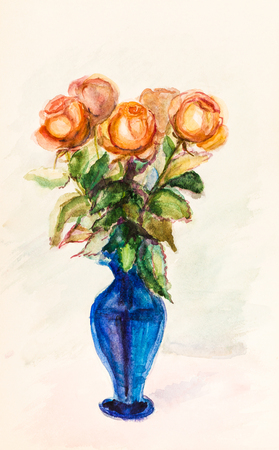 Bouquet of flowers, roses in glass vase