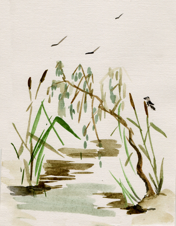 Ink wash painting, cane in bog
