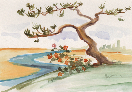 Ink wash painting, lonely pine near river