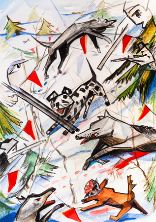 abstract picture, hunting for wolves, modern style Фото со стока