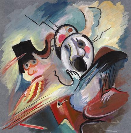 On Kandinskys motives, solders in the height of battle Фото со стока