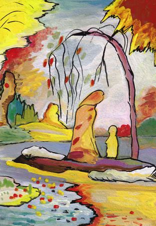 On Kandinskys motives, the autumn rhapsody on bank of river