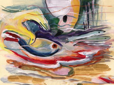 On Kandinskys motives, birds hunting for fishes Banco de Imagens