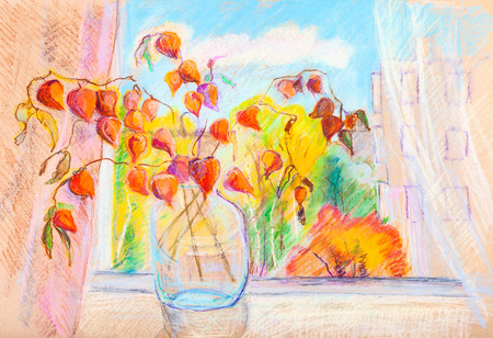 Bouquet of dry flowers on window sill