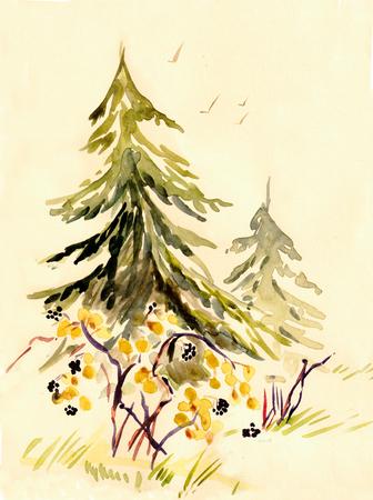 Watercolor autumn landscape with spruces and yellow bush Banco de Imagens