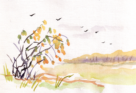 Watercolor autumn landscape with yellow bush and wood in distance
