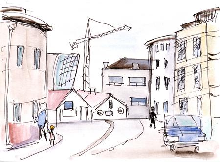 Instant sketch,  streets in Reykjavik