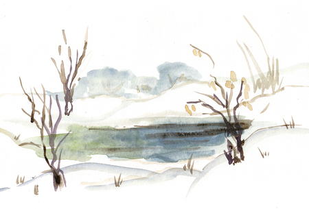 winter watercolor landscape with frozen river with glade 版權商用圖片 - 115274771