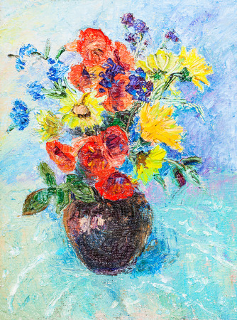 Coloufull flowers in ceramic vase on blue cloth Standard-Bild - 118002518