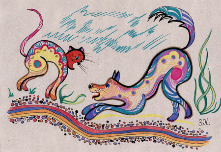 the eternal battle of dogs and cats painted by  felt-tip pen Stock fotó