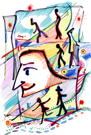 Scriptwriter and heroes of his plays painted by felt-tip pen Banco de Imagens