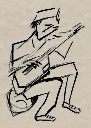 man playing on a musical instrument