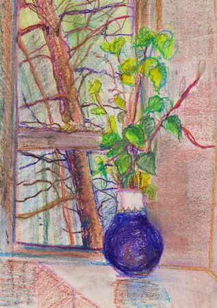 bunch of branches in blue vase