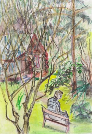 summer landscape with man sitting on bench