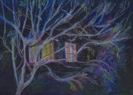 night landscape, tree and house with alight windows Reklamní fotografie
