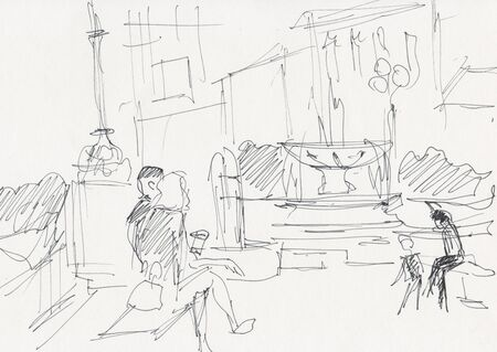 Instant sketch, Moscow, people resting near fountain in summer day 写真素材