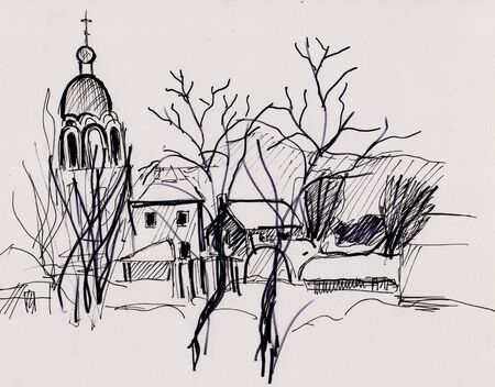 Black and white picture, winter landscape with church and houses