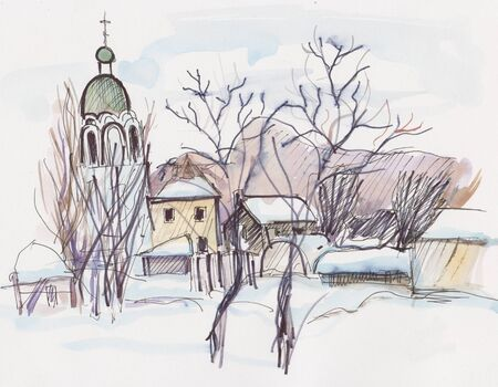 watercolor picture, winter landscape with temple and houses 版權商用圖片