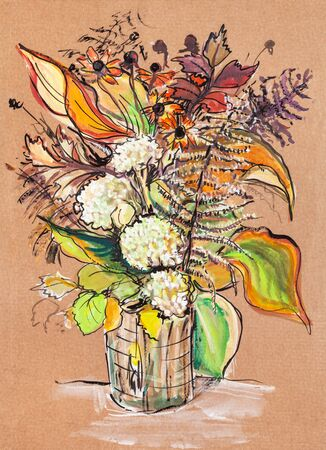 bouquet wiith autumn flowers and leaves Banco de Imagens - 137892023