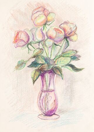 Bouquet of pink roses in glass vase