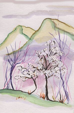 In spring flowering plum trees, mountains in distance Imagens - 142288402