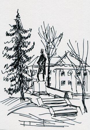 instant sketch , monument to Schiller in Kaliningrad Imagens