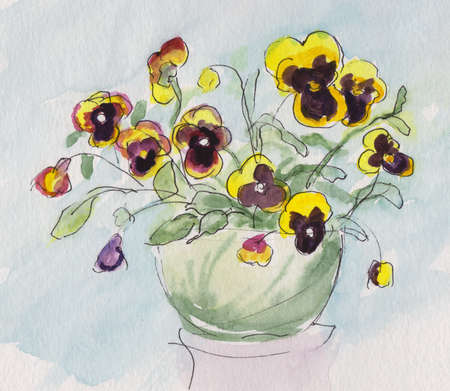 blooming pansies in ceramic pot, watercolor painting Imagens - 150840713