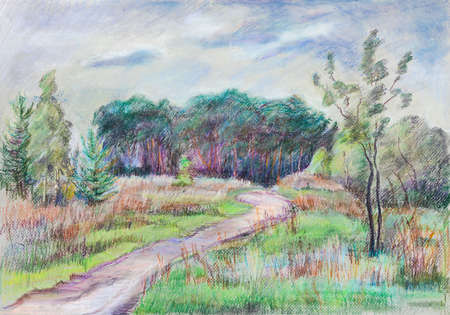 Summer landscape, pinery on small hill