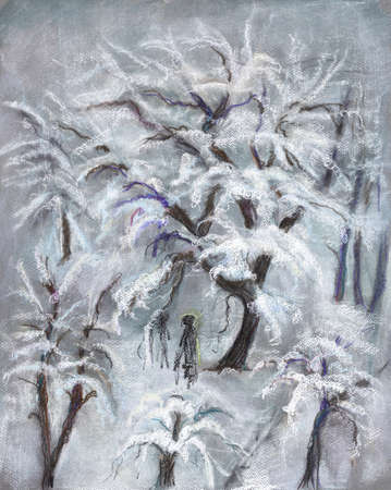 view from window to snowy garden with apple trees