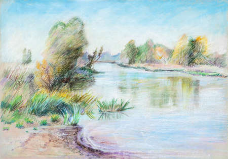 Landscape with river Dubna in September, oil pastel painting