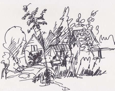 Instant sketch, little village in summer