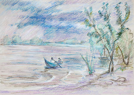 Summer landscape of river Volga, fleeing from bad weather