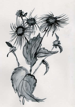 Elecampane in summer, ink wash painting in japanase style Imagens