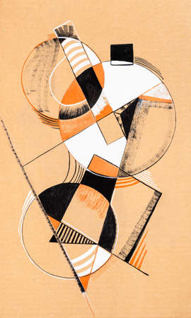 Geometric colored abstract shapes, overlay of colored figures, shapes