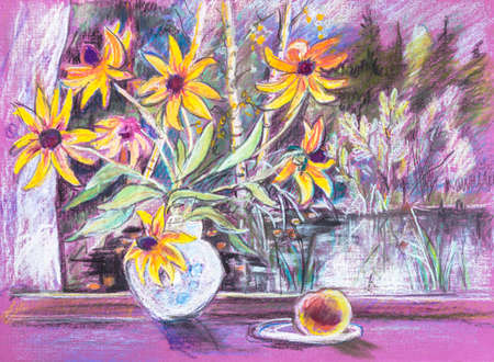 bouguet of yellow flowers on windowsill, oil pastel painting picture Imagens
