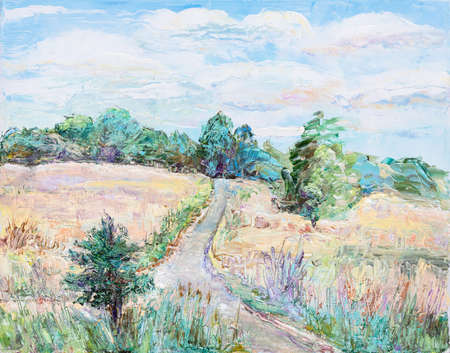 summer landscape, rural road in the field, oil painting picture Imagens