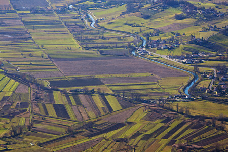 river view: Countryside in the province of Rieti in Italy. Aerial view.