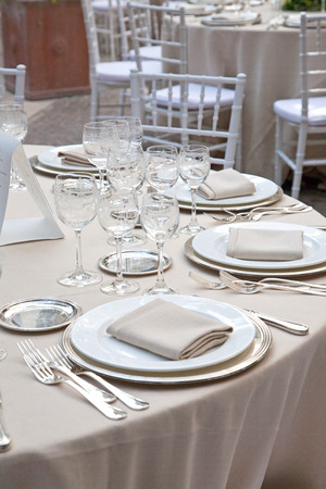Table set for a wedding in Rome in Italy