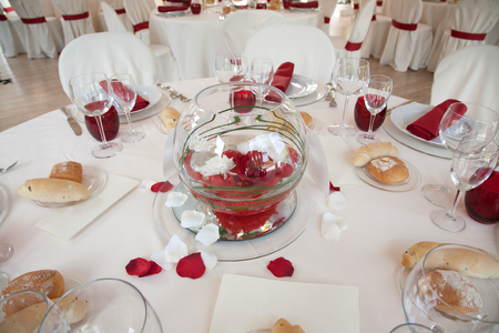 table set: Table set of red for wedding in Rome Stock Photo