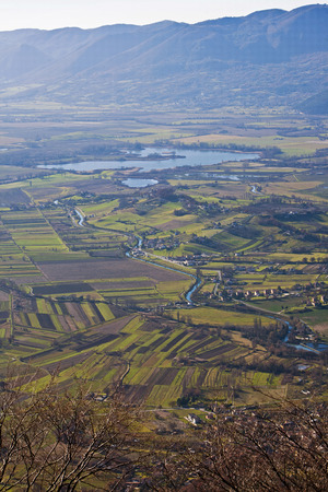 rieti: Aerial view of the Reserve of lakes and along Ripasottile of rieti in Italy