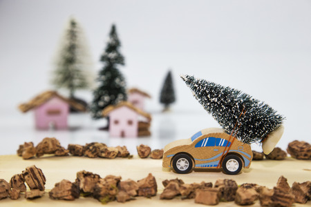 carrying: Car carrying a Christmas tree