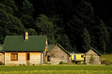 lithuania: Log cabin in Lithuania Stock Photo