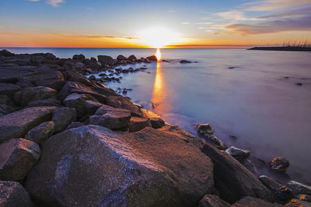 tyrrhenian: Sunset on the Tyrrhenian sea in Italy