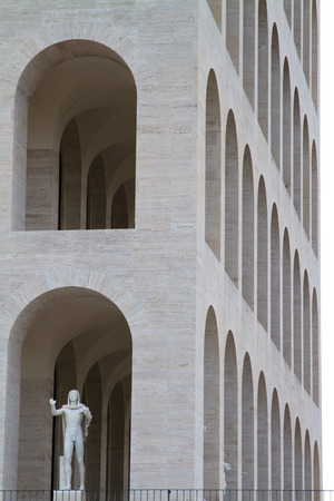 Palace of civilization in Rome. Eur, coliseum square in Italy Editorial