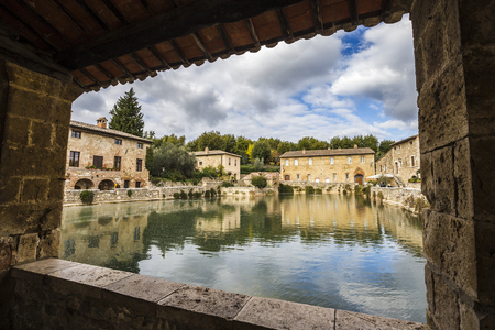 biological vineyard: Ancient thermal baths in the medieval village of Bagno Vignoni in Tuscany, Italy