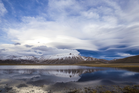 lenticular: Landscape in the national park of the Sibillini mountains in Italy.